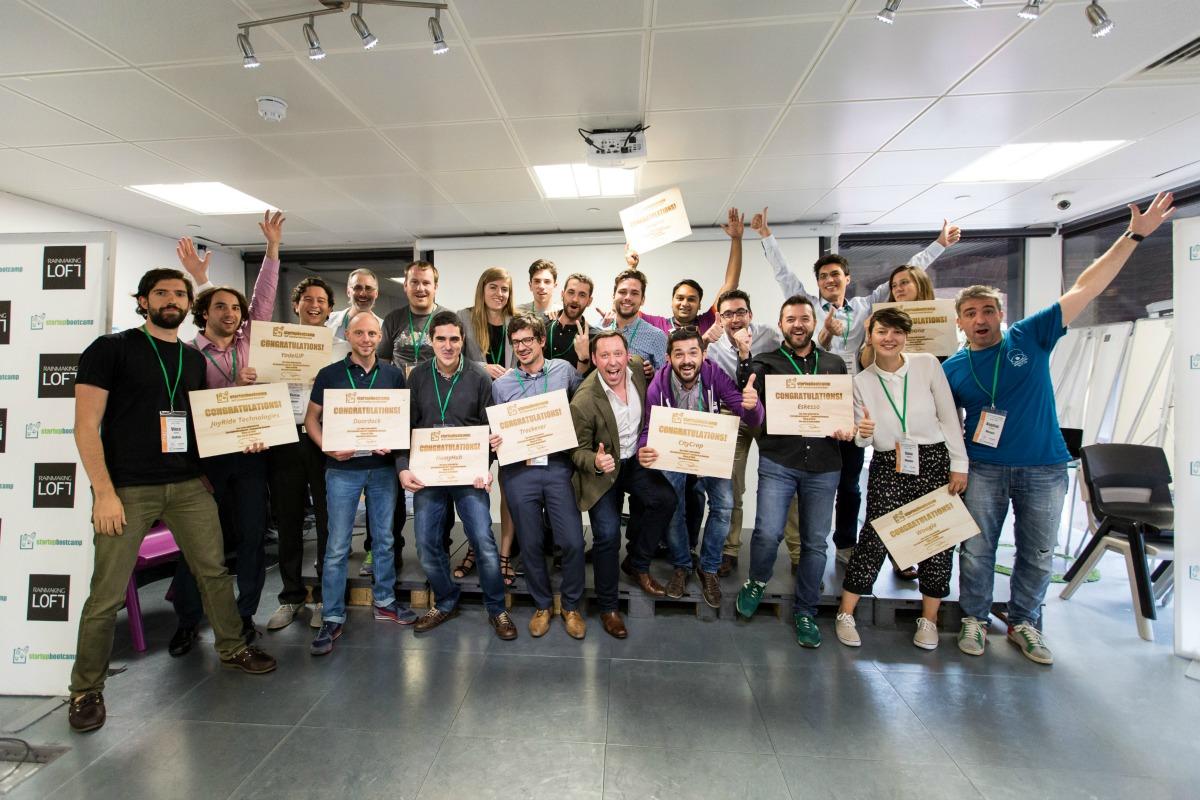 The 10 winning start-ups celebrate