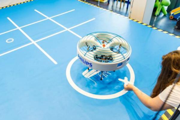 Indoor drone visits hospital