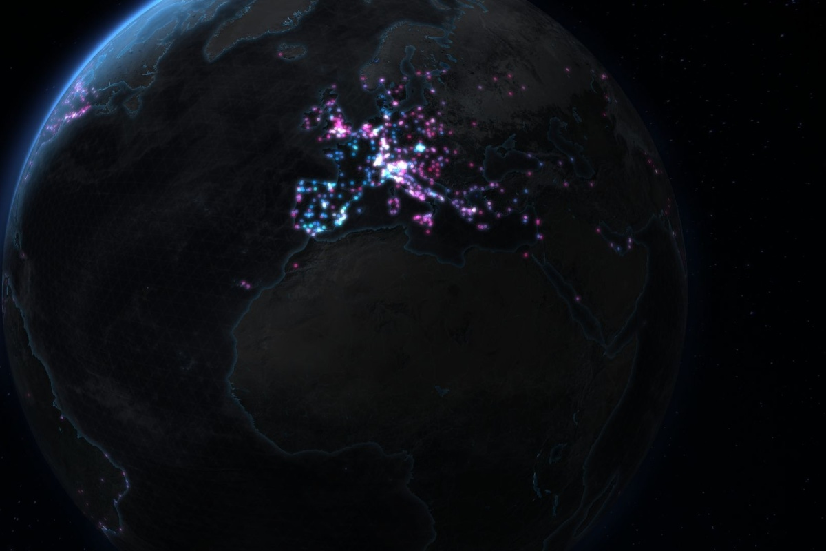 A visualisation of bike-sharing data from around the world