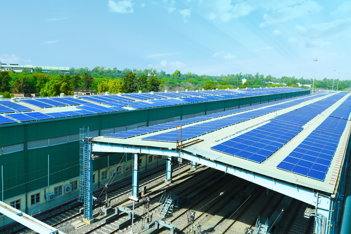 The Azure Roof Power platform project in situ at the railways