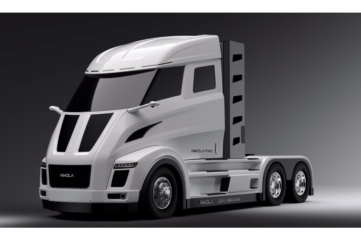 The futuristic looking hydrogen-electric truck from the Nikola Motor Company