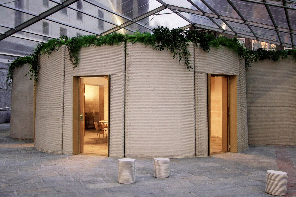 The 3D printed house is currently located in the grand Piazza Cesare Beccaria