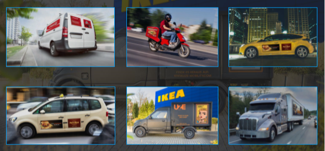 The Uze Mobility ad panel can be integrated into a range of electric vehicles.