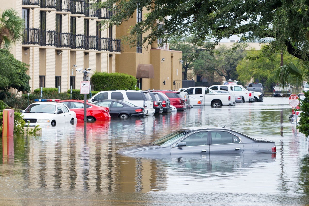 Submerged cars in Houston following Hurricane Harvey's assault in 2017