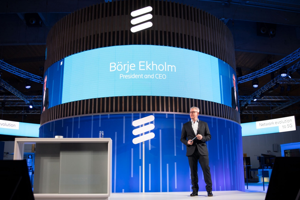 Ericsson president and CEO Börje Ékholm makes his address at MWC199