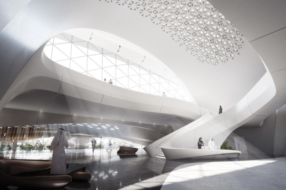 Interior of Bee'ah's sustainable headquarters in Sharjah