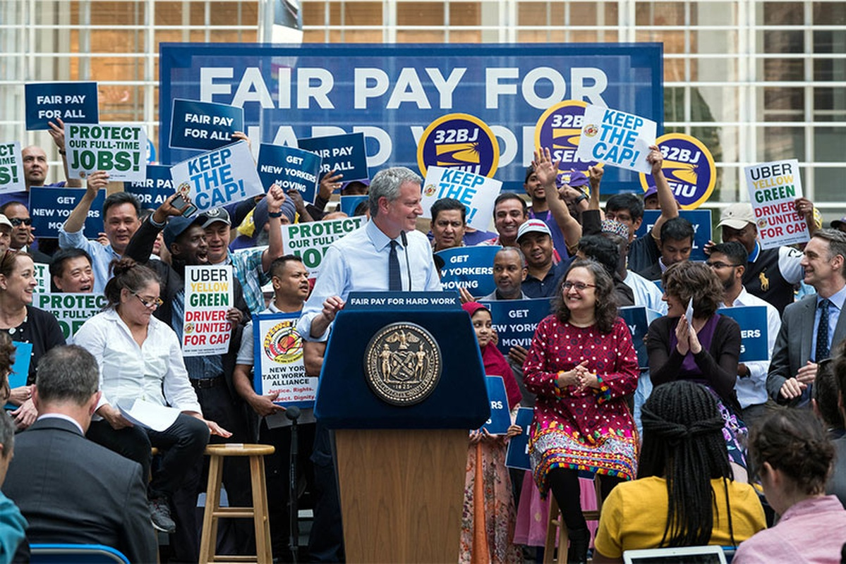 Mayor de Blasio hopes the measures will cut congestion and increase driver earnings