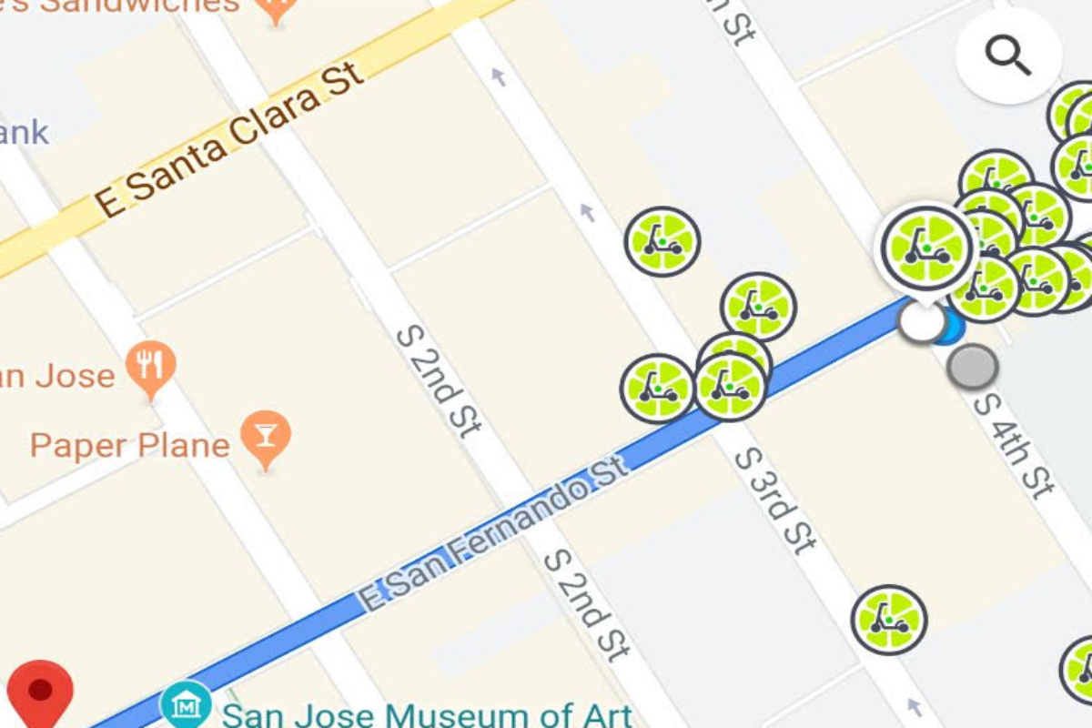 The available Lime vehicles displayed on the Google Map