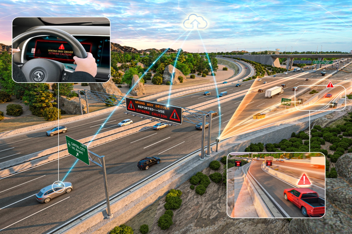 The Continental Wrong-Way Driver system can be deployed on freeways and highways