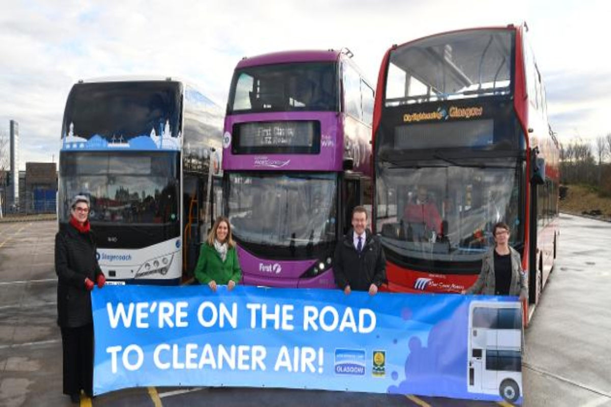 Bus operators mark the start of year two of Glasgow's low emission zone