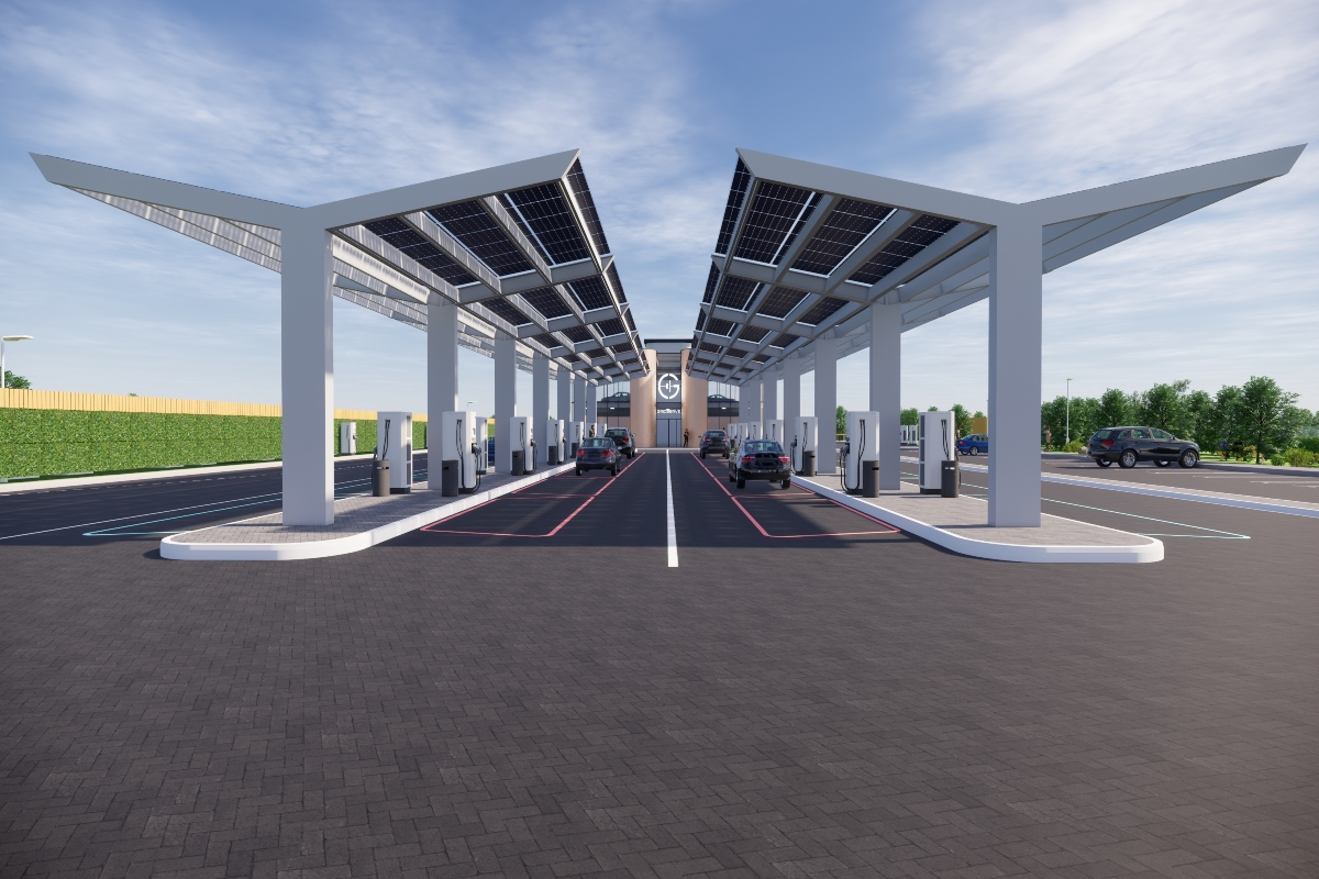The forecourtswill be powered by solar energy and battery storage projects