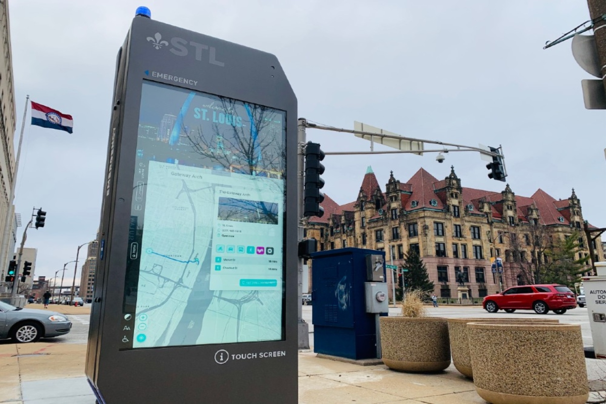 The first kiosks were located downtown and in historic Old North St Louis