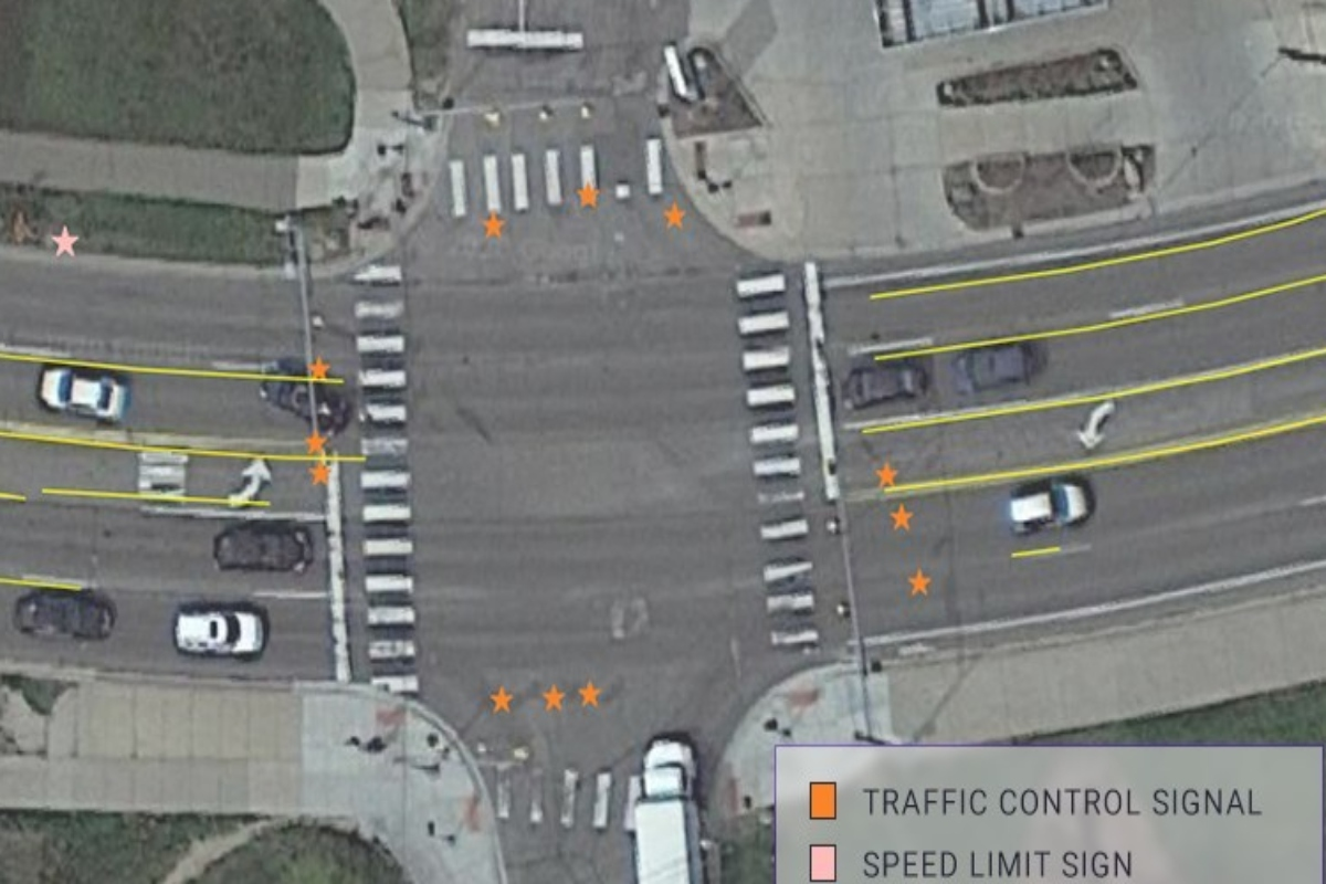 Key road features such as lane markings, traffic signals and signs were detected