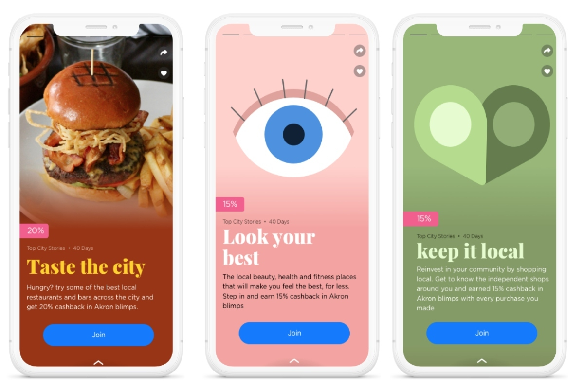 Citizens are rewarded for shopping locally and can share stories about the city