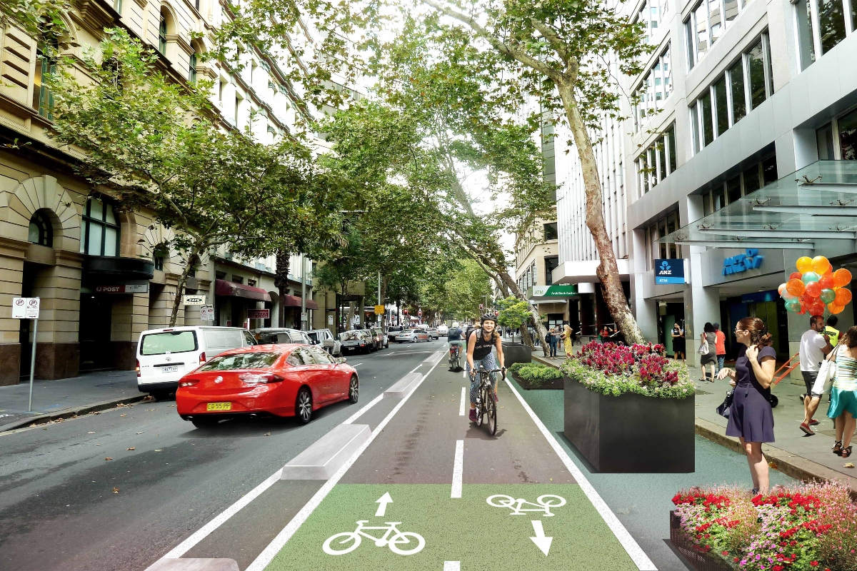 Artist's impression of new Pitt Street cycleway in Sydney