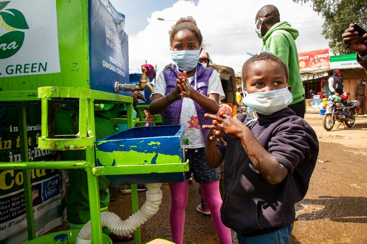Covid-19 prevention work being carried out in Kibera. ©UN-Habitat-Kirsten Milhahn