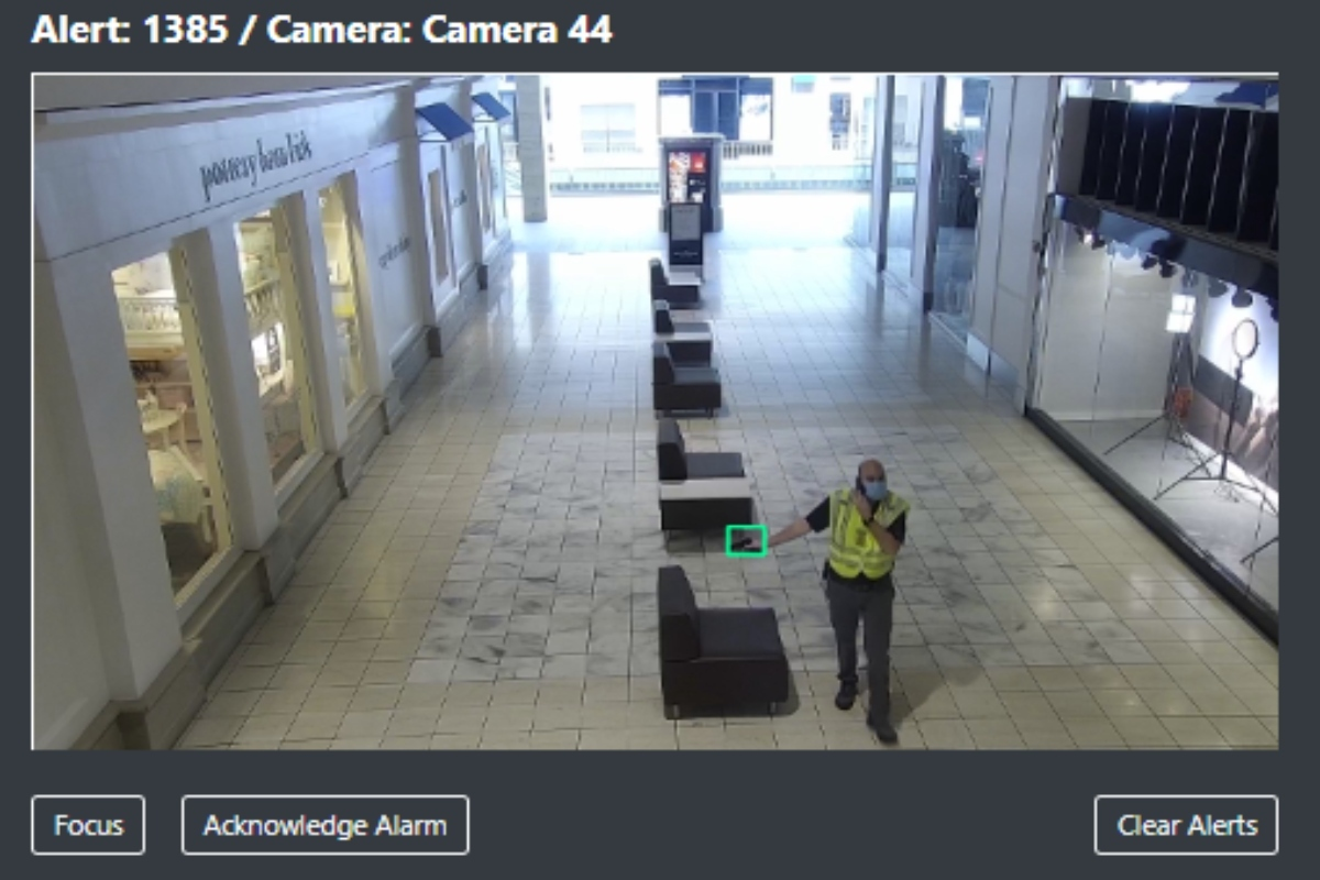 When a weapon is detected, an alert with an image goes to the monitoring team