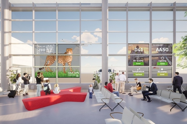The smart glass technology helps turn the gates into living, breathing entities
