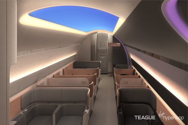 Recessed seat wells provide a greater sense of space for passengers. Image: Virgin Hyperloop