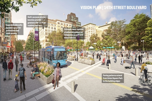 Each of the major projects outlined in the plan offers improvements in walkability. Image: Marvel, courtesy of the Union Square Partnership