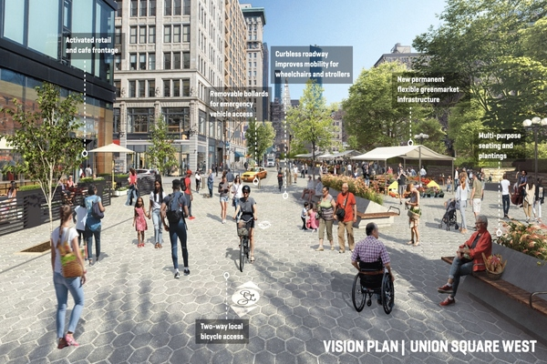 Prioritising space for pedestrians and cyclists can have a positive effect for businesses. Image: Marvel, courtesy of the Union Square Partnership