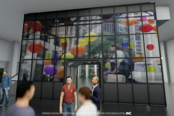 A rendering of the Tin Building's interactive LED glass and digital environment