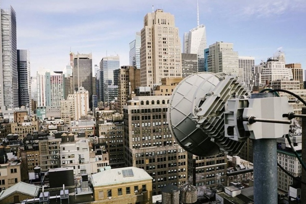 GiGstreem dish sitting on a New York City rooftop