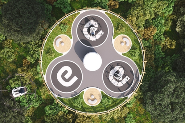 The vertiport's design is inspired by the native African Baobab tree