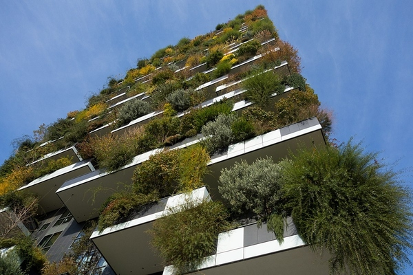 The Trudo Tower is a 70-metre-high residential tower integrating a vertical forest