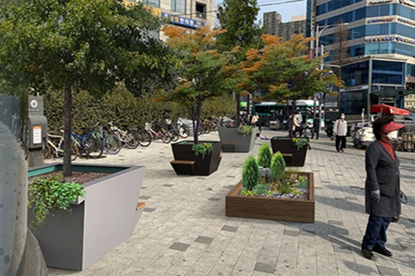 How the park in front of Hwagok Station exits in Gangseo-gu might look