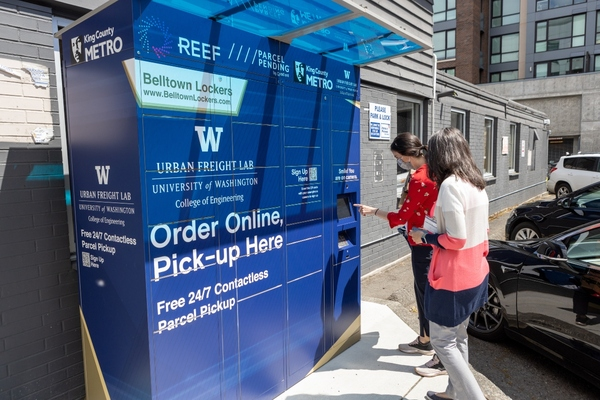 A common-carrier parcel locker provides secure and contactless package delivery