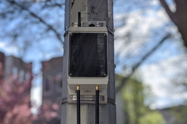 The Pebble solar-powered gateway, attached to a pole