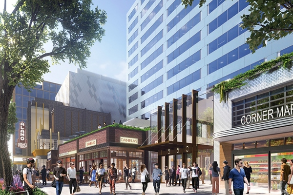 Central district retail area of National Landing. Image: AT&T/JBG Smith