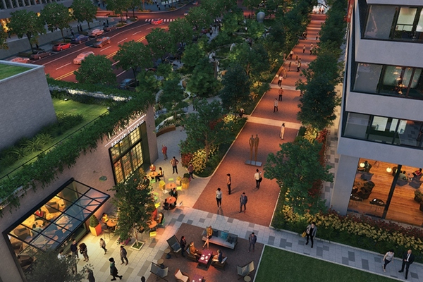 Corner building and courtyard area of the development. Image: AT&T/JBG Smith