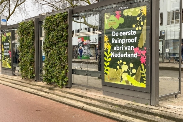 Tram shelter in Amsterdam with a green roof and green wall. Image: Amsterdam.nl