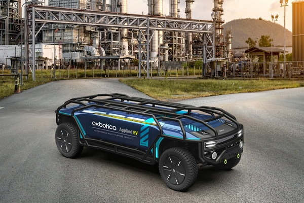 The vehicle is configurable for specific applications, such as logistics or industrial