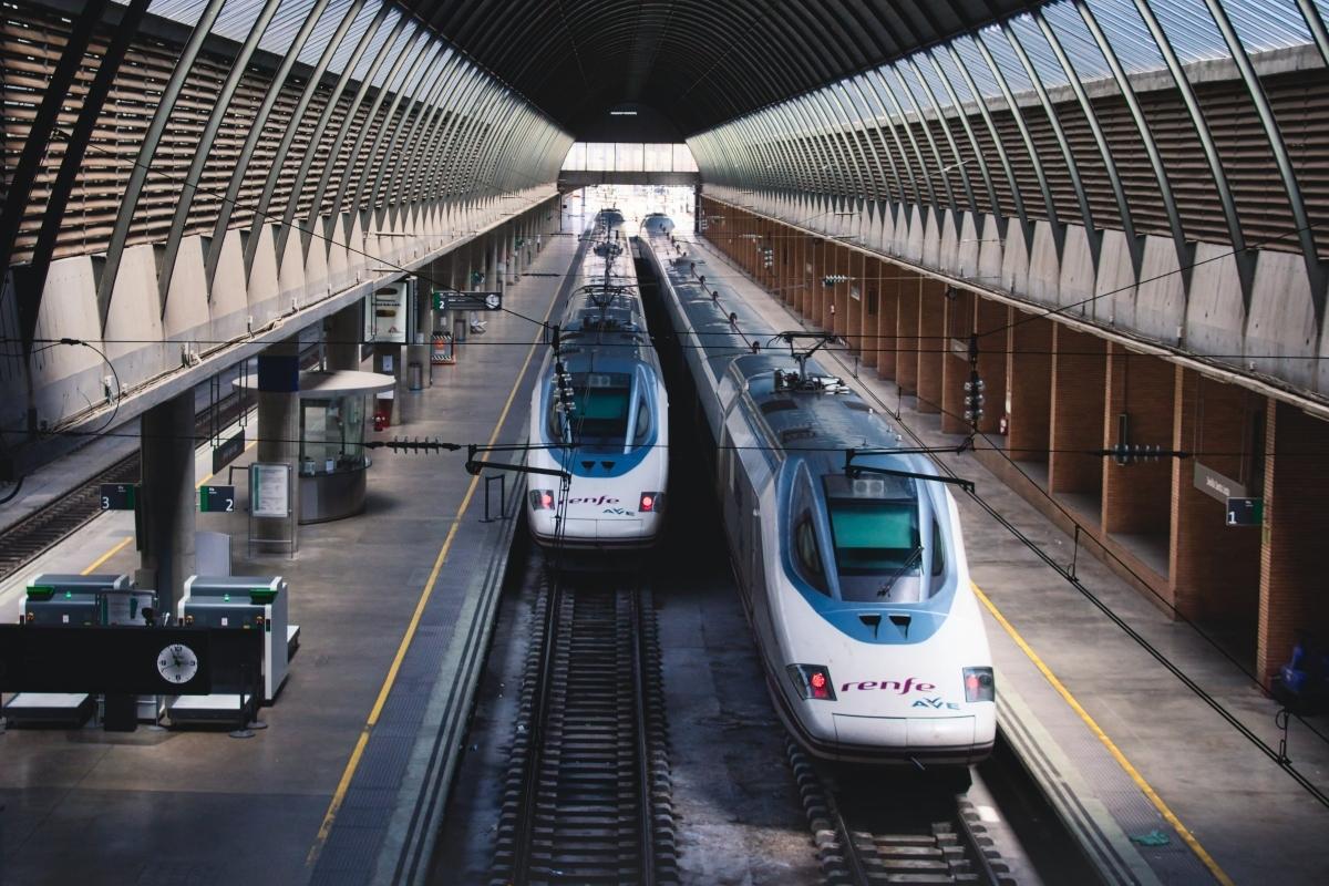 Renfe train pulls into Santa Justa station, Seville,