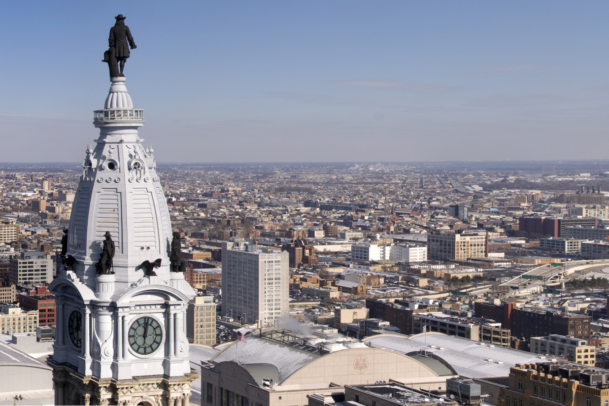 The view from above Philadelphia City Hall, where the city government is striving to create a more equitable, inclusive future for residents